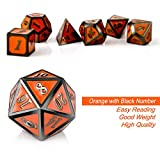 Orange D&D Game Dice Metal, DNDND 7 die Metal DND