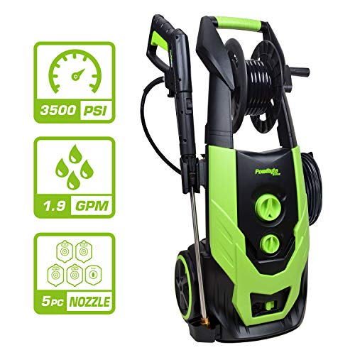 PowRyte Elite 3500 PSI 1.90 GPM Electric Pressure Washer, Electric Power Washer with Hose Reel, 5 Quick-Connect Spray Tips (3500PSI)