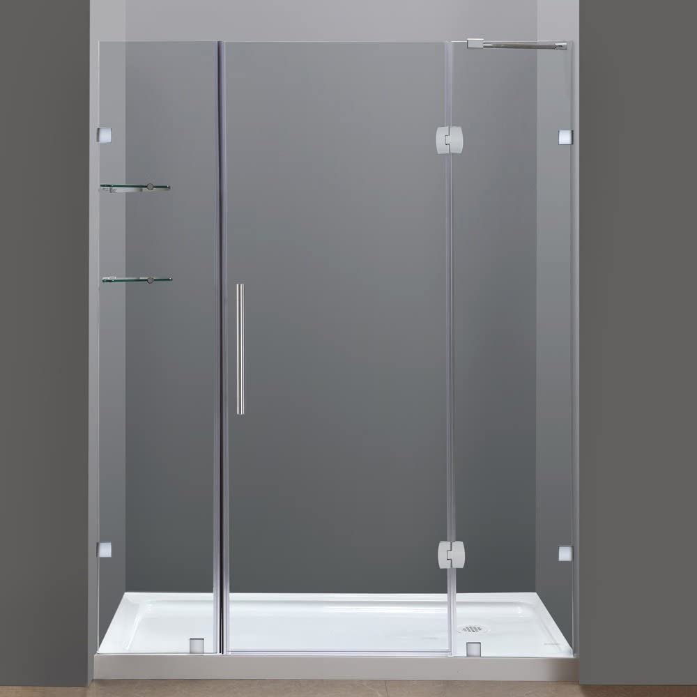Aston Soleil 60 X 77 1 2 Completely Frameless Hinge Shower Door With Glass Shelves Brushed Stainless Steel With Right Drain Base