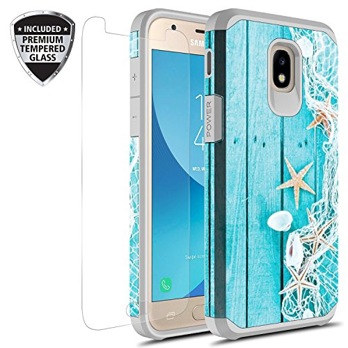 Samsung Galaxy J7 V 2nd Gen/J7 Refine/J7 Top/J7 Star/J7 Aura/J7 2018 Case w/ Tempered Glass Screen Protector, Rosebono Hybrid Graphic Colorful Armor Case for SM-J737 (Starfish)