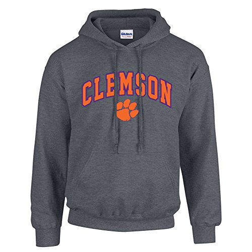Elite Fan Shop NCAA Men's Clemson Tigers Hoodie Sweatshirt Dark Heather Arch Clemson Tigers Dark Heather XX Large