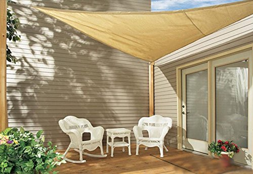 Sol Maya Triangle Patio Sun Shade Sail - Sand Color Available in Multiple Sizes (16.5'' x 16.5'' x 16.5'') by Sol Maya