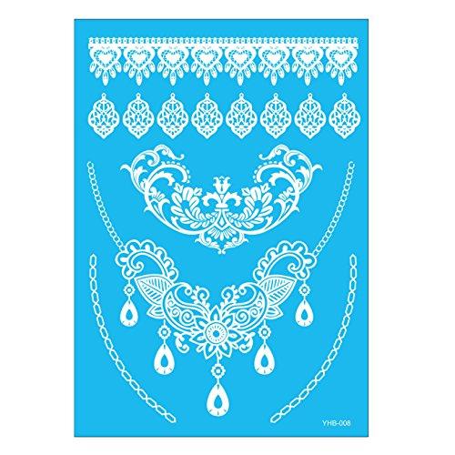 Oottati Tatouages Temporaires Mariée Blanche Mariage Mandala Collier Bracelet Pendentif (2 Feuilles)