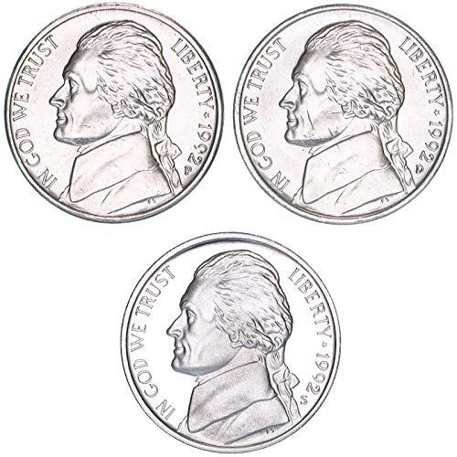 1992 P D S Jefferson Nickel Year Set BU & Gem Proof 3 ()