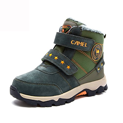 CAMEL Kids Snow Boots Waterproof Booties Color Army Green Size 35 M EU(Little Kid/Big Kid) by Camel
