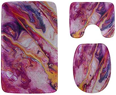 Toilet Rug and Cover Set Fashion Morden Art Marble Texture 3-Piece Soft Shower Bath Rugs Contour Mat and Toilet Seat Lid Cover Flannel Toilet Rug and Cover Set / Toilet Rug and Cover Set Fashion Morden Art Marble Texture 3-Piece So...