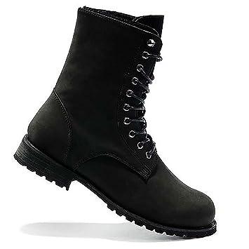 Amazon.com: Men's Retro Punk High-top Combat Boots Lace up Faux ...