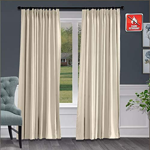 Macochico Fireproof Flame Retardant Thermal Insulated Curtains Blackout Pinch Pleat Drapery Panel for Home, Office, Hotel, School, Cinema Hospital, Beige 100 W x 102 L, 1 Panel