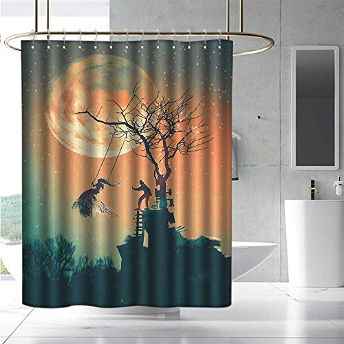 EwaskyOnline Bathtub Splash Guard Fantasy World Spooky Night Zombie Bride and Groom Lady on Swing Under Starry Sky Full Moon Bathroom Decoration W48 x L84 Orange Teal]()