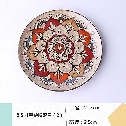 LGK&FA Placa cerámica Hand-Painted personalizada Retro Hogar redonda Western-Style Alimentos bandejas decoraciones