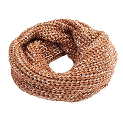 TAORE Knit Woolen Baby Scarf Neck Winter Warmer Neckerchief (Khaki A)