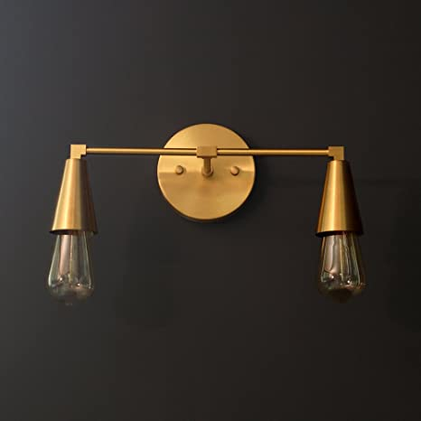 official photos 1290a 3d5fe Modern Brass Double Cone Light Wall Sconce Vanity Brass 2 ...