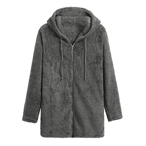 MEIbax Damen Fleece Mantel Zipper Hooded Einfarbig