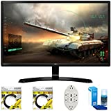 LG 27' Full HD IPS Dual HDMI Gaming Monitor (27MP59HT-P) with 2x 6ft High Speed HDMI Cable, Transformer Tap USB w/ 6-Outlet Wall Adapter and 2 Ports & Universal Screen Cleaner for LED TVs