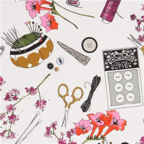 - light cream fabric with flowers in pink-orange etc, scissors, needles etc. (per 0.5 yard unit)