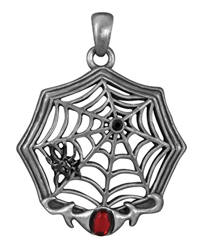YTC Summit Silver Color Pewter Spider Web with Red Gem -