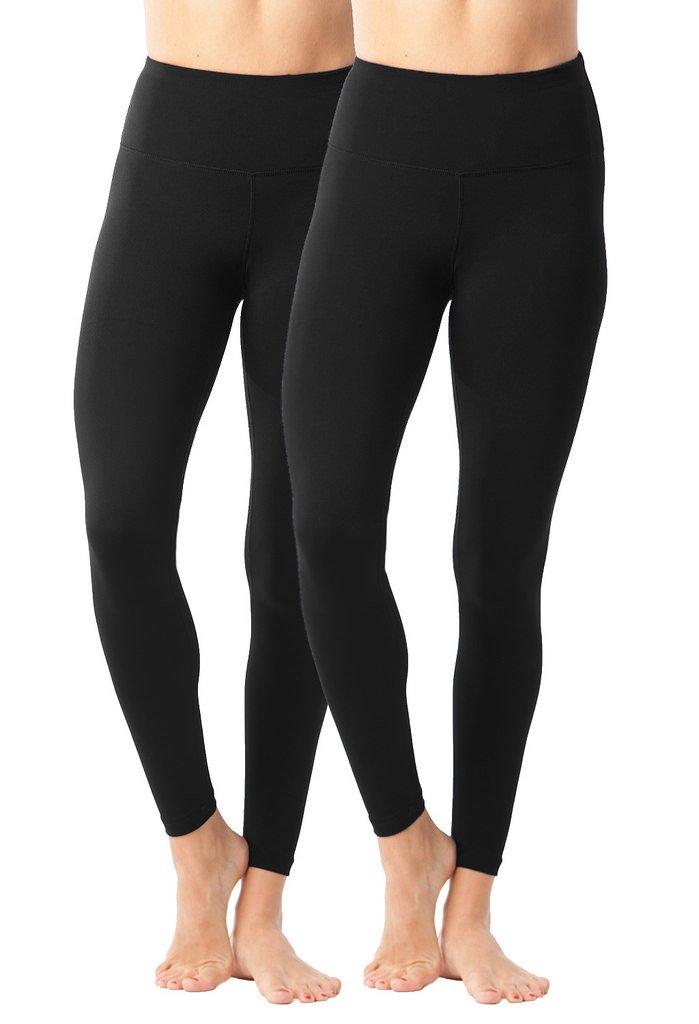 90 Degree By Reflex - High Waist Power Flex Legging - Tummy Control Black 2 Pack - XS by 90 Degree By Reflex
