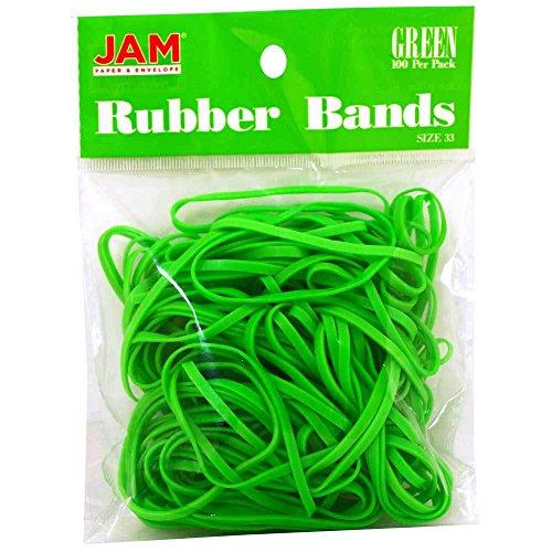 JAM Paper® Rubber Bands - Regular Size 33 - Green - 100 Color Rubber Bands Per Pack