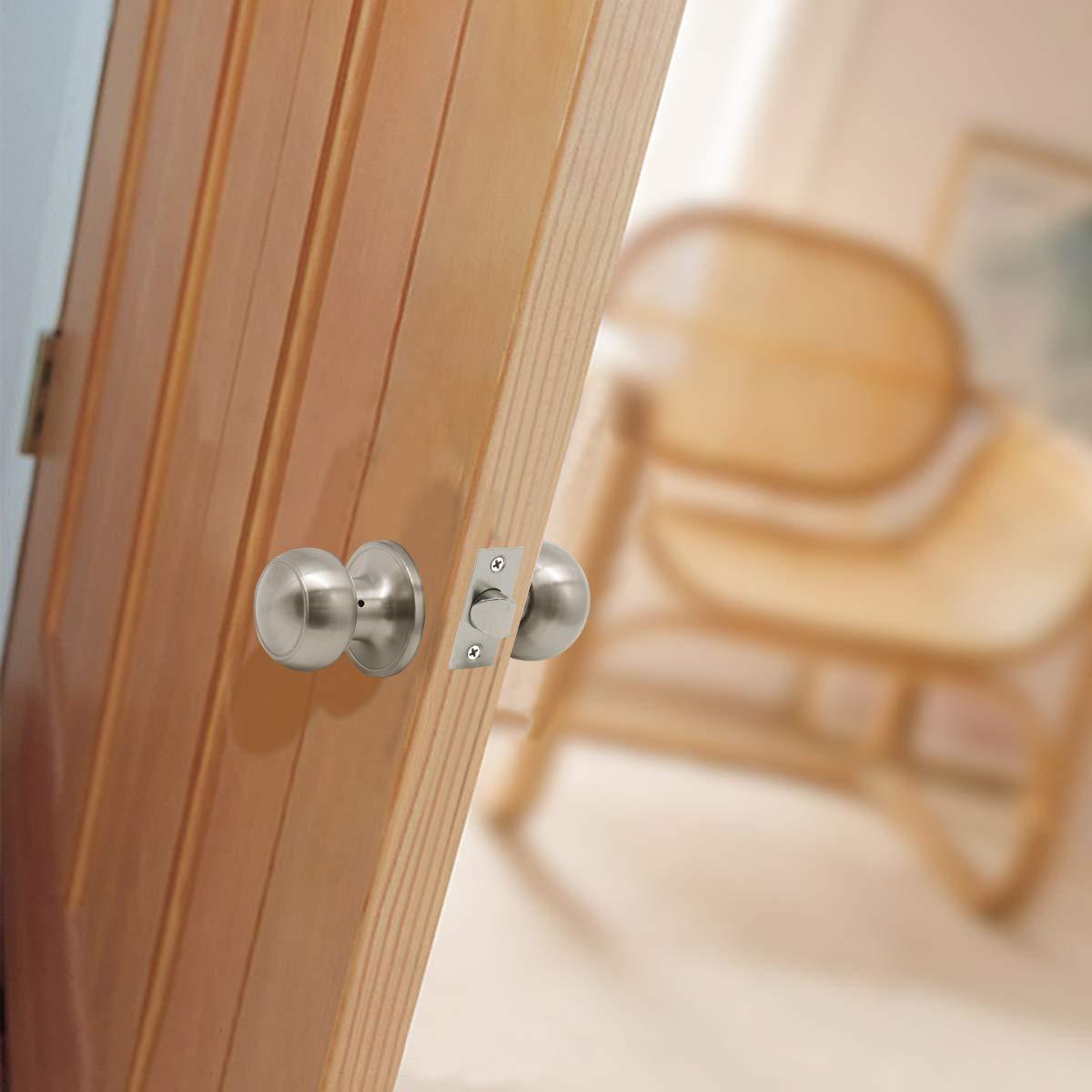8 Pack Probrico Interior Passage Keyless Door Knobs Door Lock Handle Handleset Lockset Without Key Doorknobs Satin Nickel for Hall/Closet-Door Knob 609 by Probrico (Image #4)
