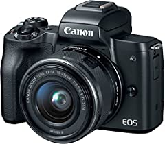 The EOS M50 is a compact interchangeable lens camera for aspiring photographers looking for an easy way to boost the quality of their photos and videos. With clear, high-resolution 4K UHD 24p video, you can capture the incredible details and ...
