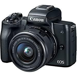 51r1YbUWUmL. SS300  - Canon EOS M50 Mirrorless Camera Kit w/EF-M15-45mm and 4K Video - Black