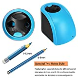 UrBen Electric Pencil Sharpener for School Classroom Office Home Heavy Duty Pencil Sharpener with Double Holes/ Auto-Stop Feature and Replaceable Blades for Artists Students - Blue