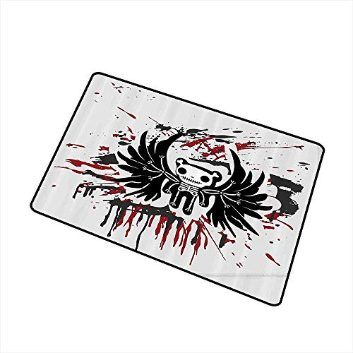 Axbkl Non-Slip Door mat Halloween Teddy Bones with Skull Face and Wings Dead Humor Funny Comic Terror Design W30 xL39 with Anti-Slip Support Pearl Black Ruby -