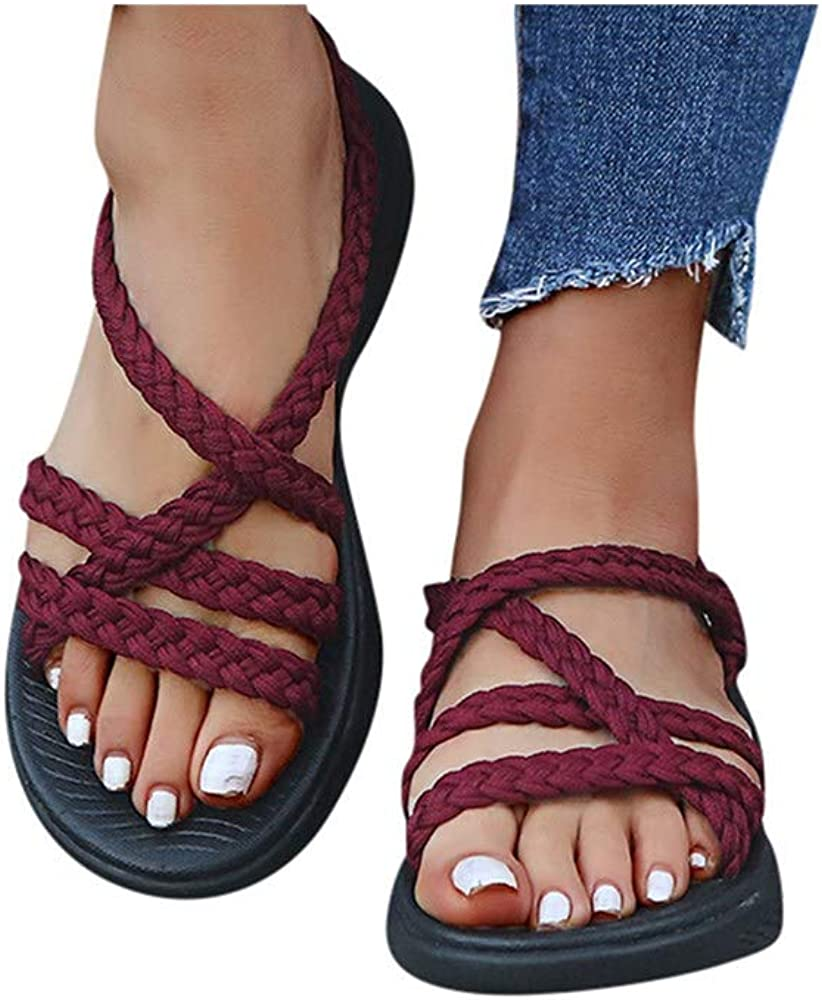 Hemlock Women Weave Straps Sandals Soft Wedge Sandals Sports Beach Shoes Hiking Walking Summer Sandals Shoes