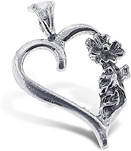 925 Sterling Silver Jewelry, Flower on a Heart Charm, Adjustable Fit