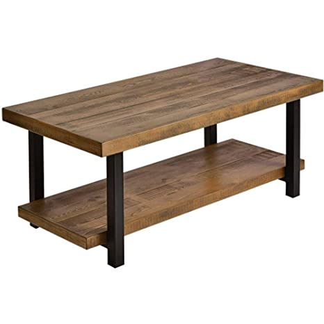 Marvelous Rustic Nature Coffee Table Aplos Large Retro Wood Slabs Coffee Table With Metal Legs And Storage Shelf For Living Room Easy Assembly Rectangle Evergreenethics Interior Chair Design Evergreenethicsorg