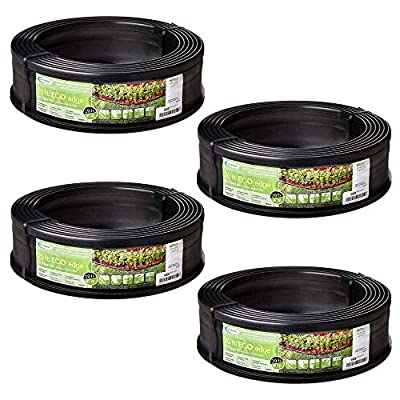 Suncast 5 Eco Edge 20 Foot Plastic Coiled Edging Roll with 2 Connectors, 5 inch (4 Pack)