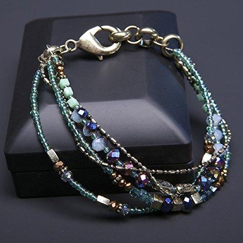 YOIL Exquisite und Kompakte Schmuck Dekoration Vintage Multilayer Glas Perlen Handgemachte Damen Armband