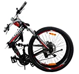 Camp 26' Alloy Folding Mountain Bike Shimano 21 Speed Dual Suspension MTB Rocky