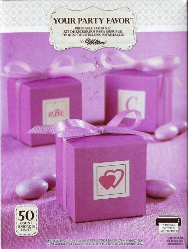 (Wilton Purple Square Printable Favor Box Kit 50 Count)