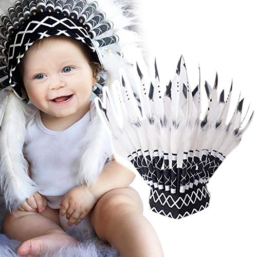 Luerme FeatherHeaddressNativeAmericanIndianInspiredParty Favor Photo Props Cosplay Costume Carnival Decoration Dress Up Pretend Play for Kids ()