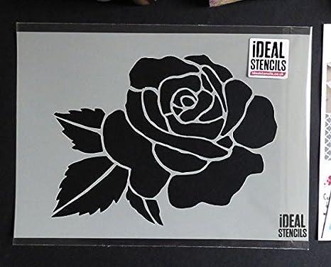Rose Head Motif Stencil | Reusable Home Wall Decor, Art & Craft Stencil | Paint Walls Fabrics & Furniture (XS/ 11X14.5CM) Ideal Stencils