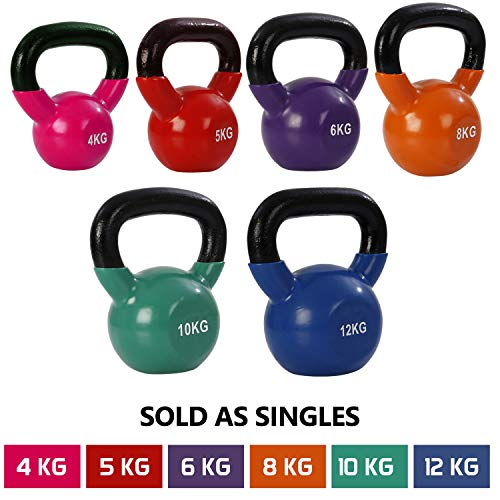 FITSY® Imported Solid Cast Iron Vinyl Coated Kettlebell Dumbbell Weights