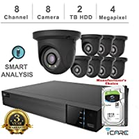 iCare-4K Smart Analysis NVR Security Kits: 8CH 4K PoE NVR + (8) 4MP Outdoor Network Grey Eyeball (3 Years Warranty; Local US Support, No Hard Drive Included)