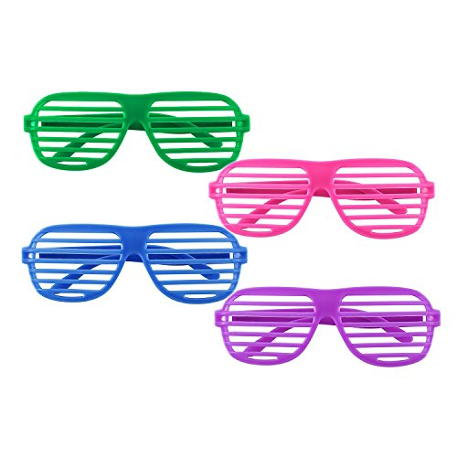 Dazzling Toys 80's 80's Slotted Toy Sunglasses Party Favors Costume - Pack of 24 - Assorted - With Neon Logo Sunglasses