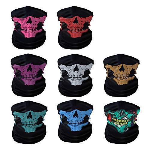 Oisee 8 Packs Dust Mask Bandanas Seamless Skull Face Mask Black Neck Tubular Windproof For Music Festivals Riding Outdoors Raves