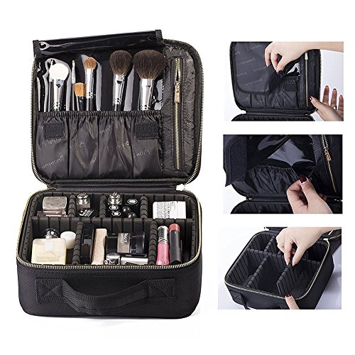 [Fashion Makeup Cosmetic Case Beauty Artist Storage Bag Holder Organizer, Multi-compartment, large capacity, you can put a variety of cosmetics and make-up tools.] (Drag Artists Costumes)