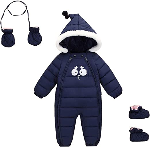 Yinbwol Baby Boy Girl Snowsuit Cute Infant Toddler Winter Coat Long Sleeve Zipper Romper Clothes Jacket
