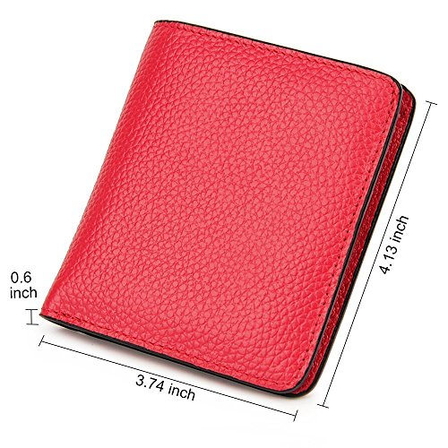 Bi Id bifold foto billetera fold compactas ventana con as D mujeres cuero peque Wallet Pocket de billetera Pebble genuino Bloqueo Las y W806Taa