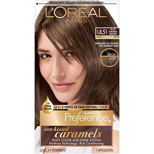 L'Oréal Paris Superior Preference Fade-Defying + Shine Permanent Hair Color, UL51 Hi-Lift Natural Brown, 1 kit Hair Dye