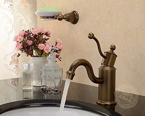 JingJingnet 洗面器ミキサータップアメリカンチェッククラシックブルーアンティーク起毛洗面台シンクシングルホールアンティークヨーロッパ蛇口ホットとコールドフル銅ガーデン (Color : Color) B07RR7ZZPY Color