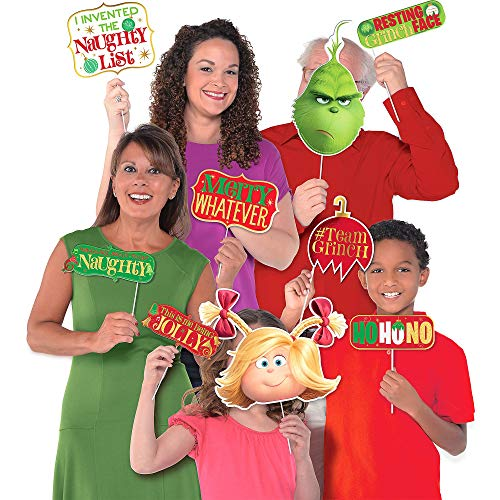 Amscan The Grinch Photo Booth Props, Christmas Party Supplies, 13 Count ()