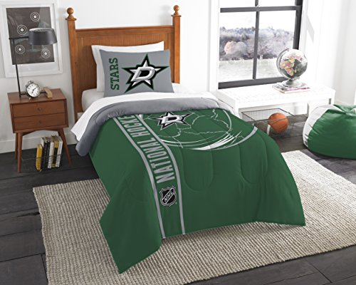 - The Northwest Company Officially Licensed NHL Dallas Stars Draft Twin Comforter and Sham Set, Silver/Green