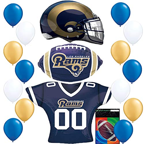 - Los Angeles Rams LA Football NFL Party Supplies Sports Team Helmet Jersey Balloon Decoration Bundle with Foot Ball Treat Bags