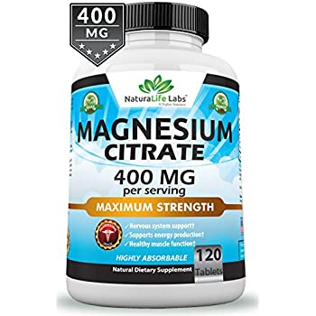Magnesium Citrate 400 mg - 120 tablets Elemental Magnesium Supports Function of muscles, bones, heart Non-GMO per serving