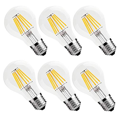 - Vintage LED Filament Bulb 6W (60W Equivalent), Classic Edison A19/A60 LED Light Bulbs, E26 Medium Base Lamp, 2700K Warm White, 600 Lumens, Non-Dimmable, Pack of 6